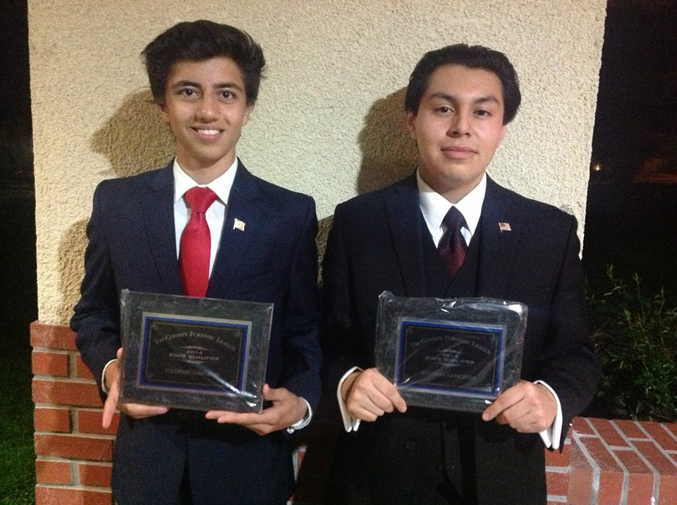 Shawn Haq and Marlon Poroj are the two El Camino debaters to advance to the Finals round and end up in 2nd and 1st place respectively.