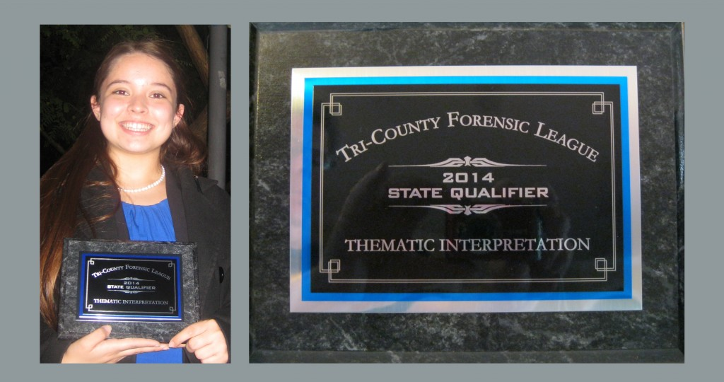Emily Mercer became one of El Camino's State Qualifiers for 2013-14 for her Thematic Interpretation piece.