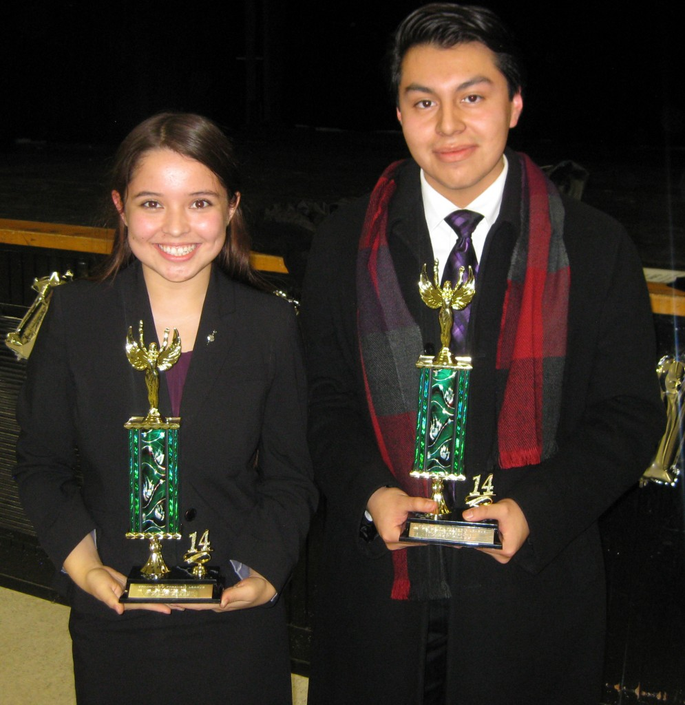 Emily Mercer and Marlon Poroj after the 1st Place Duo performance.